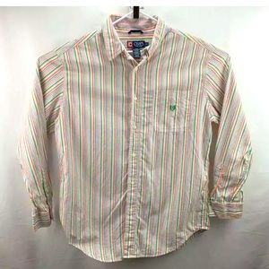 Chaps Long Sleeve Button Up Shirt Striped Large